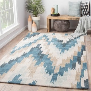 Contemporary Coastal Pattern Blue Wool and Art Silk Area Rug (9' x 12')
