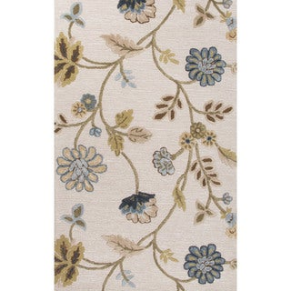 Contemporary Floral & Leaves Pattern Blue Wool and Art Silk Area Rug (9' x 12')