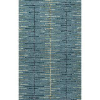 Loran Handmade Stripe Teal/ Green Area Rug (8' X 10')