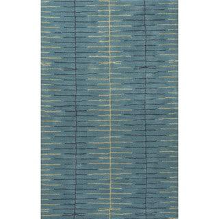 Loran Handmade Stripe Teal/ Green Area Rug (9' X 12')