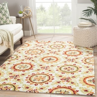 "Handmade Floral White Area Rug (7'6"" X 9'6"")"