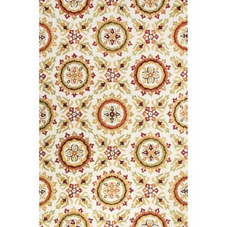 Handmade Floral White Area Rug (9' X 12')