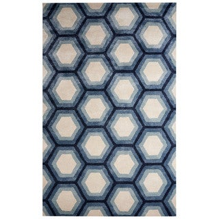 Park Handmade Geometric Blue/ Cream Area Rug (8' X 10')