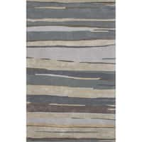 "Banyan Handmade Abstract Blue/ Beige Area Rug (9'6"" x 13'6"")"