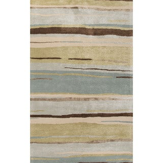 Contemporary Coastal Pattern Green/Blue Wool and Art Silk Area Rug (9'6 x 13'6)
