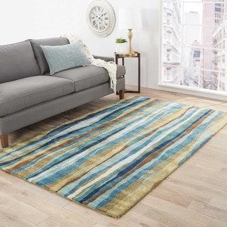 Kyma Handmade Stripe Blue/ Gold Area Rug (8' X 11') - 8' x 11'