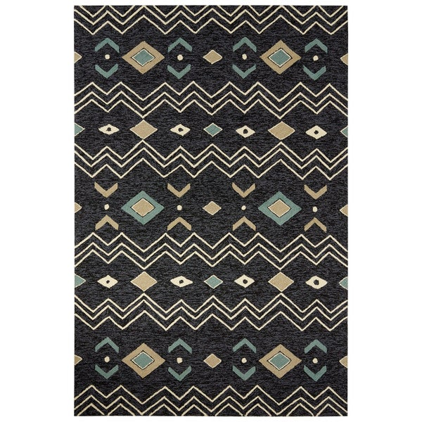 Black And White Rug Outdoor: Indoor/Outdoor Tribal Pattern Black/White Polyester Area