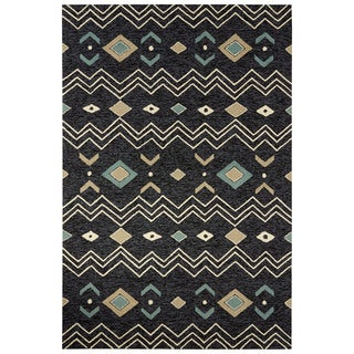 Indoor/Outdoor Tribal Pattern Black/White Polyester Area Rug (7'6 x 9'6)