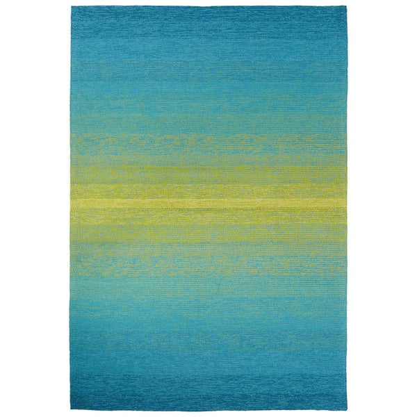"Channel Indoor/ Outdoor Ombre Blue/ Lime Green Area Rug (7'6"" X 9'6"")"