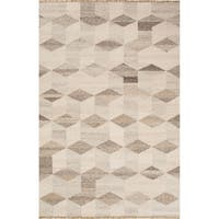 Fiero Handmade Geometric Cream/ Brown Area Rug (9' X 12') - 9'x12'