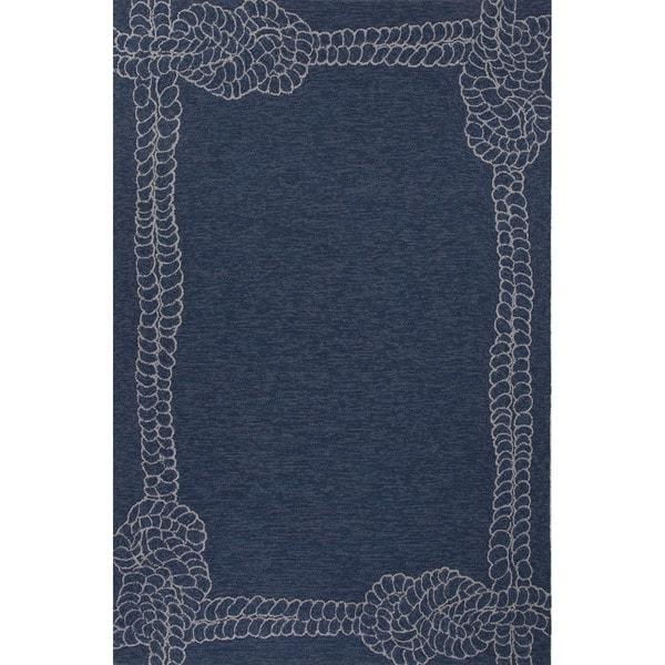 Indoor Outdoor Coastal Pattern Blue Ivory Polypropylene