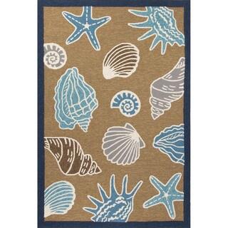 Indoor/Outdoor Coastal Pattern Yellow/Blue Polypropylene Area Rug (7'6 x 9'6)