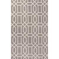 Camden Handmade Trellis Light Gray/ White Area Rug (8' X 11')