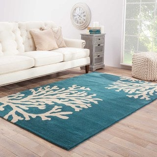 "Sullivan Handmade Abstract Blue/ White Area Rug (9'6"" X 13'6"")"