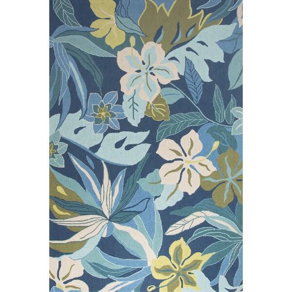 Shop Contemporary Coastal Pattern Blue Ivory Polyester