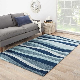 Contemporary Coastal Pattern Blue/Ivory Polyester Area Rug (9' x 12')