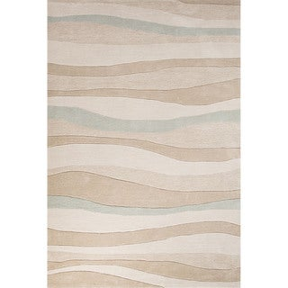 Contemporary Coastal Pattern Beige/Blue Polyester Area Rug (7'6 x 9'6)