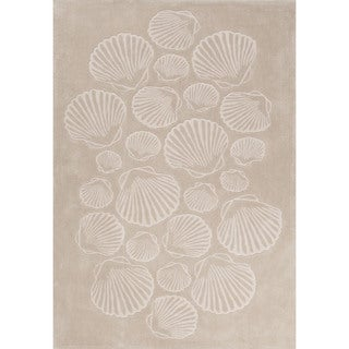 Contemporary Coastal Pattern Natural/Ivory Polyester Area Rug (7'6 x 9'6)