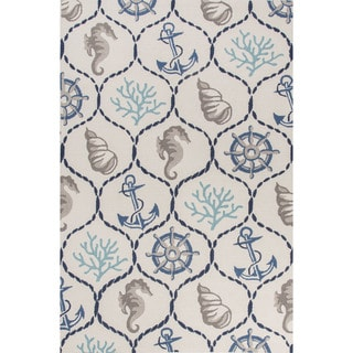 Contemporary Coastal Pattern Ivory/Blue Polyester Area Rug (7'6 x 9'6)