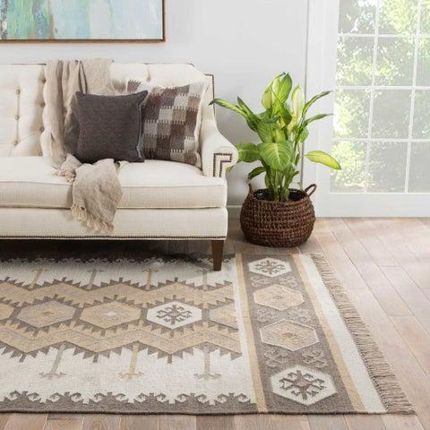 Sonoran Indoor/ Outdoor Geometric Gray/ Taupe Area Rug (8' X 10')