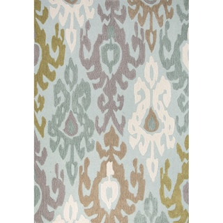 Contemporary Coastal Pattern Blue/Multi Polyester Area Rug (7'6 x 9'6)