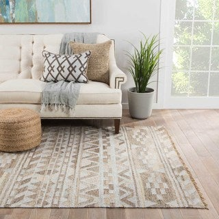 Flatweave Tribal Pattern Gray/Taupe Wool and Art Silk Area Rug (8' x 10')