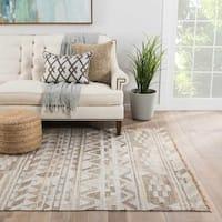 Vita Handmade Geometric Gray Area Rug (8' X 10') - 8' x 10'