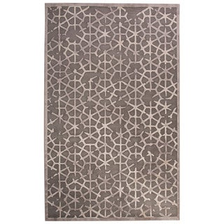 Contemporary Tribal Pattern Gray/Tan Rayon Chenille Area Rug (9' x 12')