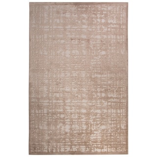 Contemporary Abstract Pattern Ivory/Beige Rayon Chenille Area Rug (9' x 12')