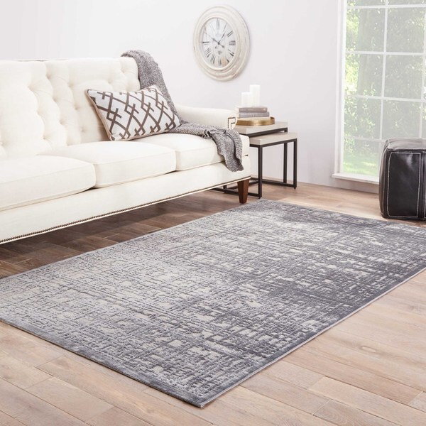 Shop Echo Abstract Gray Silver Area Rug 7 6 Quot X 9 6