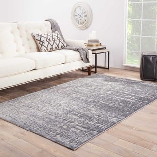 "Echo Abstract Gray/ Silver Area Rug (7'6"" X 9'6"")