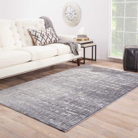 "Echo Abstract Gray/ Silver Area Rug (9' X 12') - 8'10"" x 11'9"""