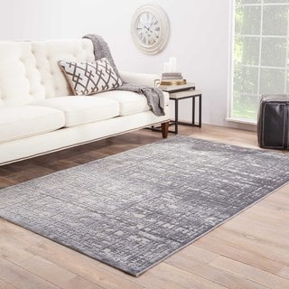 Contemporary Abstract Pattern Gray Rayon Chenille Area Rug (9' x 12')
