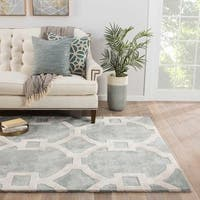 Bronx Handmade Trellis Light Blue/ White Area Rug - 8' x 11'