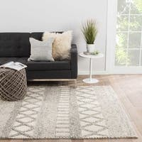 Janson Handmade Geometric Gray/ White Area Rug (8' X 10')
