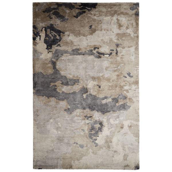 Mudra Handmade Abstract Gray Silver Area Rug 8 X 10