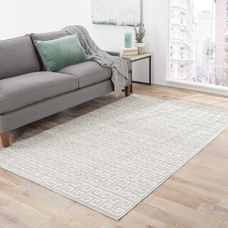Contemporary Trellis Pattern Ivory/Blue Rayon Chenille Area Rug (9' x 12')