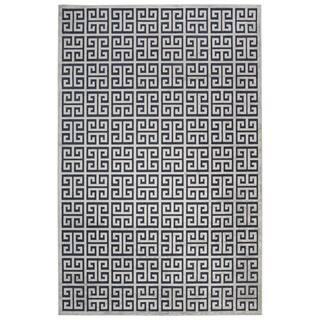 "Demetria Geometric Dark Blue/ Silver Area Rug (7'6"" X 9'6"")"