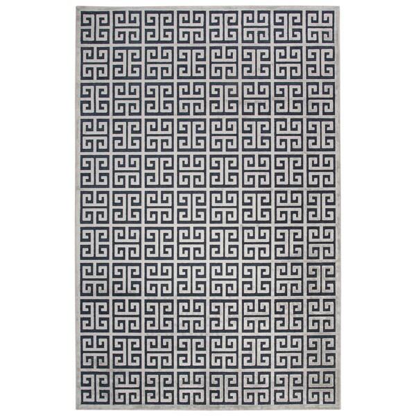 Demetria Geometric Dark Blue Silver Area Rug 9 X27 X 12