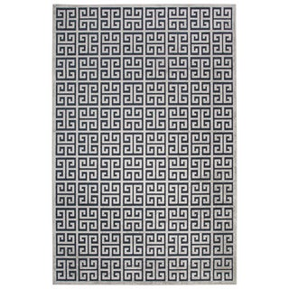 Contemporary Trellis, Chain And Tile Pattern Blue/Gray Rayon Chenille Area Rug (9' x 12')