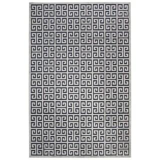 Demetria Geometric Dark Blue/ Silver Area Rug (9' X 12')