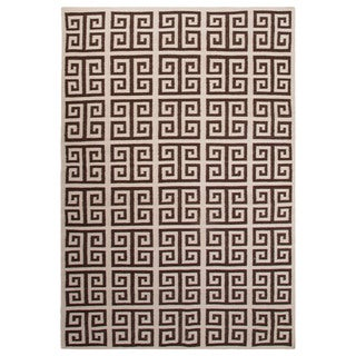 Flatweave Trellis, Chain And Tile Pattern Ivory/Brown Wool Area Rug (9' x 12')