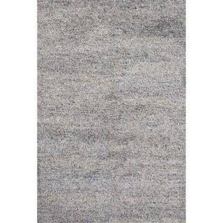 Shag Solid Pattern Blue Wool Area Rug (8' x 10')
