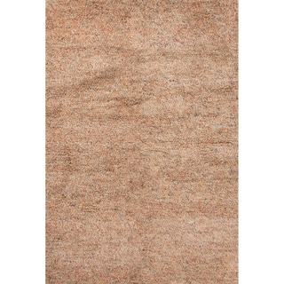 Shag Solid Pattern Orange Wool Area Rug (8' x 10')