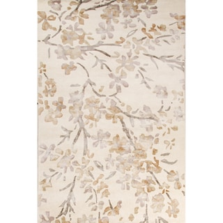 Contemporary Floral & Leaves Pattern Ivory/White Wool and Viscose Area Rug (8' x 10')