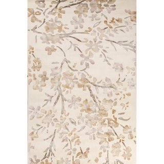 Contemporary Floral & Leaves Pattern Ivory/White Wool and Viscose Area Rug (9' x 12')