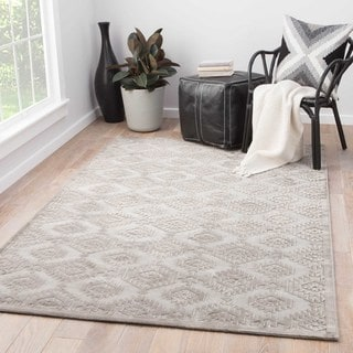 Contemporary Tribal Pattern Gray Rayon Chenille Area Rug (9' x 12')