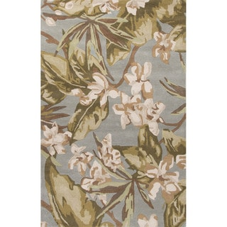 Contemporary Coastal Pattern Green/Ivory Wool Area Rug (2' x 3')