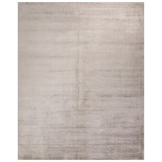Luxury Solid Pattern Gray Art Silk Area Rug (9' x 12')