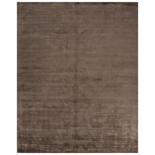 Luxury Solid Pattern Beige/Brown Art Silk Area Rug (8' x 10')